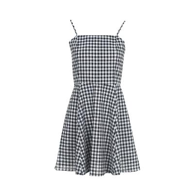gingham check pattern flare dress